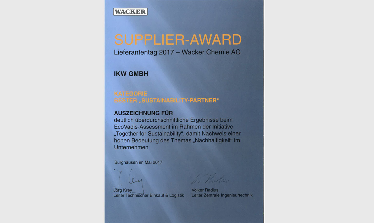 Supplier-Award 2017 – Wacker Chemie AG